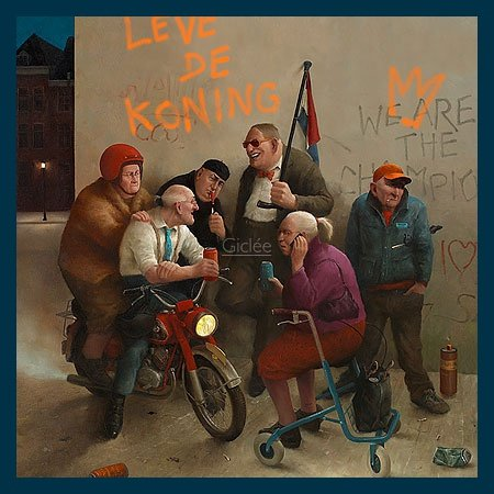 Bild mit Rahmen Marius van Dokkum - Long live the king! - Holz blau, 50 x 50cm - Premiumqualität - , Karikatur, Senioren, Alt-Rocker, Motorrad, Rollator, Graffiti, cool, lustig, komisch, Wo.. - MADE IN GERMANY - ART-GALERIE-SHOPde