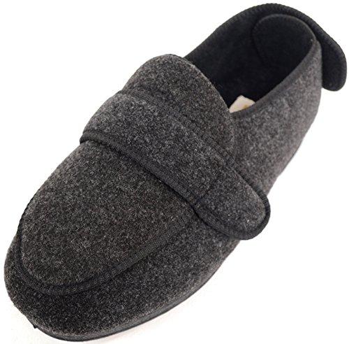 ABSOLUTE FOOTWEAR Mens Orthopaedic/Extra Wide Fit Adjustable Slipper