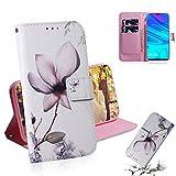 JYMD AYDD Magnolia Motif de Fleurs Dessin de Couleur Horizontal Flip Cuir Coque pour Huawei P Smart...