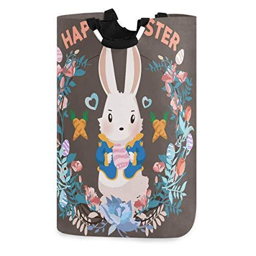 N\A Happy Easter Bunny Eggs Wäschekorb, wasserdichter und Faltbarer Wäschesack mit Griffen für Baby Nursery College Dorms Kinderzimmer Badezimmer