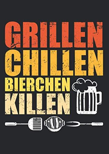 Notizbuch A4 kariert mit Softcover Design: Grillen Chillen Bierchen Killen Männer Spruch Geschenk: 120 karierte DIN A4 Seiten
