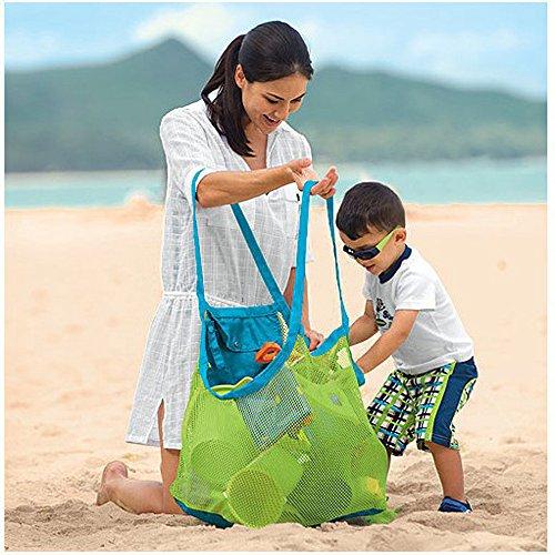 CCINEE grande borsa in rete da spiaggia per portare giocattoli senza sabbia
