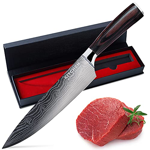 Chef Knife, Sharp Kitchen Knife – Premium Stainless Steel Knife – Chopping Knife – Cooking Knife with Ergonomic Handle – 8 inch Chefs Knife Blade by Kitchen World Tools