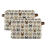 KEEPREAL French Bulldog Pattern Rectangle Storage Bin, 15 x 11 x 9.5 in, Collapsible Organizer Storage Basket for Home Décor,2PACK