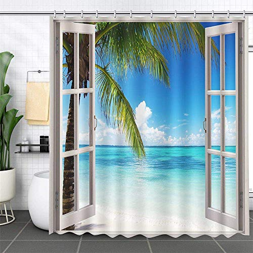 MEHOFOND Summer Beach Shower Curtain Tropical Island Palm Trees Ocean White Wooden Windows Waterproof Polyester Balcony Seascape Shower Curtain Set with Hooks Bathroom Decoration 72'x72'