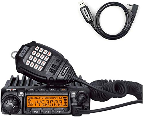 Fonghoo & Tyt TH-9000D Car Mobile Transceiver 60W VHF 2M 146MHz Ham Radio 2 Way Radio with USB Programming Cable, Black