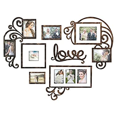 Jerry & Maggie Photo Frame | Plaque College Frame - Valentine Wall Decoration Combination - Brown PVC Picture Frame Selfie Gallery Collage W Wall Hanging Mounting Design | Love Heart Shape