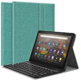 MoKo Funda de Bluetooth Teclado Compatible con Nueva Kindle Fire HD 10 & 10 Plus Tableta (11ª Generación, 2021 Versión), PU Cubierta para Tableta con Teclado Inalámbrico Extraíble, Verde