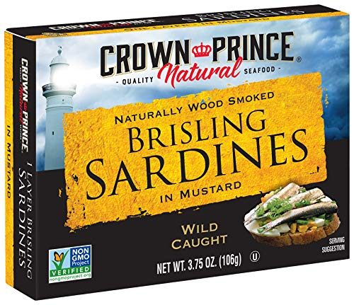 Crown Prince Natural One Layer Brisling Sardines in Mustard, 3.75-Ounce Cans (Pack of 12)