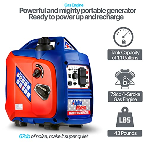 AlphaWorks Generator Inverter Portable Power Supply 2250 Watts Gas Engine 79cc 4-Stroke Capacity Super Quiet (2) 120VAC 60Hz Sockets (1) 12V DC Outlet EPA Certified