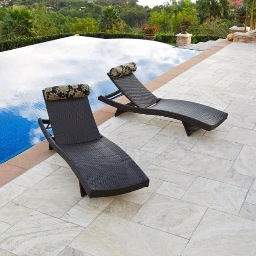 Big Sale RST Outdoor Delano Wave Chaise Lounger with Bolster Pillow Set Patio Furniture, 2-Pack