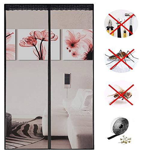 Magnet Fliegengitter Tür,insektenschutz Automatisch Verschließen fliegengitter schiebetür,ohne Bohren, für Balkontür Terrassentür-black||95x270cm(37x106inch)