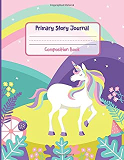 Primary Story Journal Composition Book: Cut Unicorn Dotted Midline and Picture Space | 100 Story Pages Grades K-2 School Exercise Book