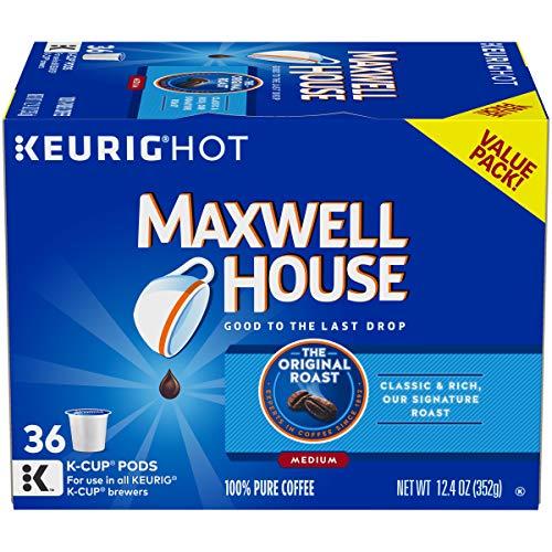 Maxwell House Original Roast Ground Coffee K Cups, Caffeinated, 36 ct - 12.4 oz Box