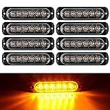 StepWorlf Pack de 8 Feux d'avertissement stroboscopiques d'urgence Clignotants à Montage en Surface à 6 LED pour Lampe de Danger de Balise de véhicule Automobile 12V / 24V (Ambre)