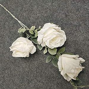 KAYYA 5 Pcs 3 Heads Artificial Silk Rose Flowers Peony Flower Long Stem Plastic Flowers for Home Office Decor Wedding Decor 35inches (???)