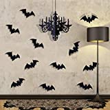 Pawliss Halloween Decorations, Glitter Hanging Chandelier and 12 Pcs Bat Wall Stickers, Bat Halloween Home Wall Decals Indoor Party Decor
