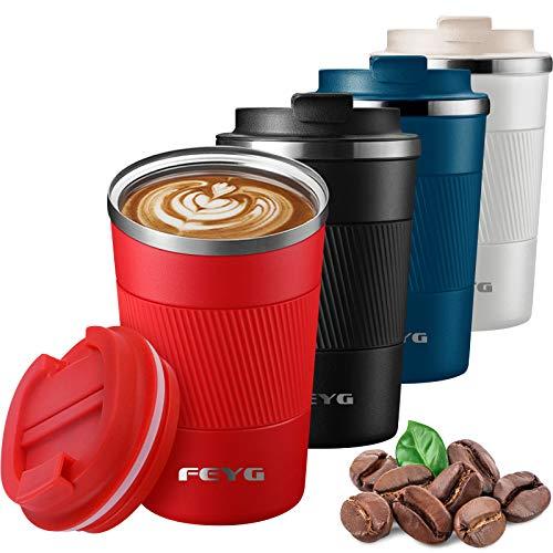 Termo Taza 510ml, Termo Cafe Cafe para Llevar de Acero Inoxidable, Taza de Viaje para 100% Cafe a Prueba de Fugas para Bebidas Frías y Calientes Bebidas té Café Agua (roja -510ml)