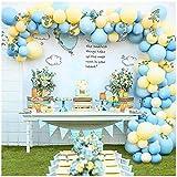 100 Piezas Globos Cumpleaños de Niños, Globos de Azules y Amarillos Guirnaldas con Accesorios, para Fiestas, Baby Shower, Fiesta de Cumpleaños de Despedida De Soltera De Boda Decoraciones