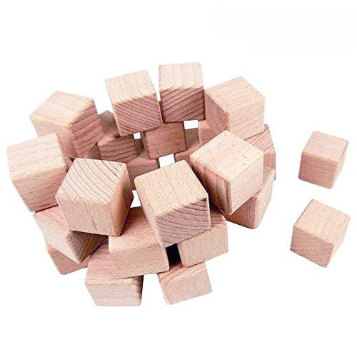 EXQUILEG Holzwürfel Holzklotz Rohlinge Cubowürfel Blanko Deko Holz Quadrat Würfel Natur Deko zum DIY Basteln Malen DIY Handwerk Dekoration (24PSC 30mm)