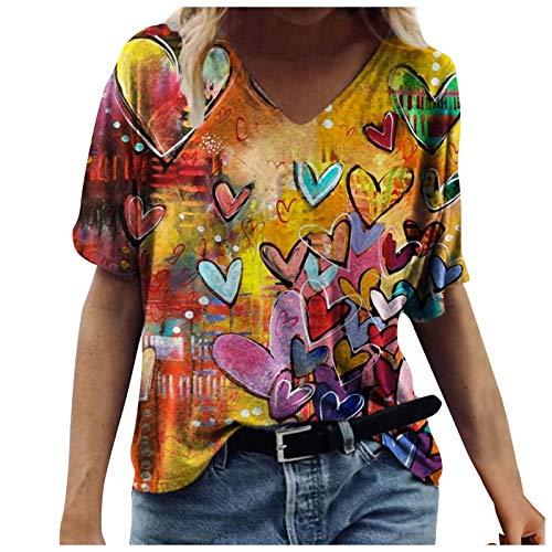 Camisetas Manga Corta Mujer Baratas Casual T-Shirt con Estampado Verano Originales Suelto Cuello Redondo Tallas Grandes Tops Deporte Blusa Camisa de Vestir tee Shirts Basicas (#34 Amarillo, XL)
