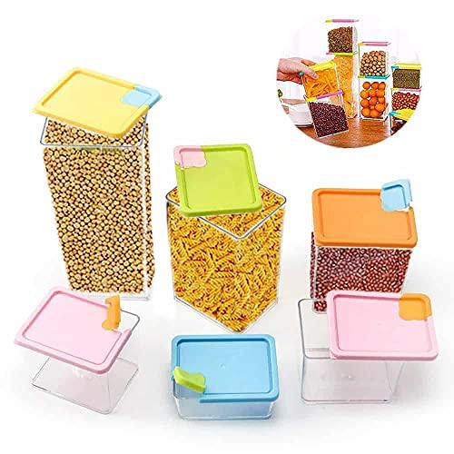 Contenedores para alimento herméticos | 6 unidades de plástico transparentes apilables con tapas para la organización y almacenamiento de cocina y comida | Libres de BPA