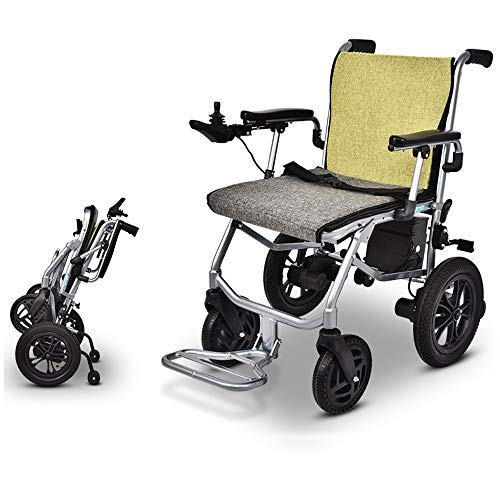 HYCBTC Electric Wheelchair Lightweight Folding Wheelchair Open Fast-Fold Compact Electric Chair Drive with Power Or Manual Wheelchair, Supports 220 Lbs,DOUBLE