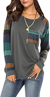 WOCACHI Womens Blouses Color Block Long Sleeve Striped Patchwork Shirt Flowy Tunic Tops