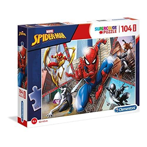 Clementoni- Supercolor Puzzle-Spider Man-104 Pezzi Maxi, Multicolore, 23734