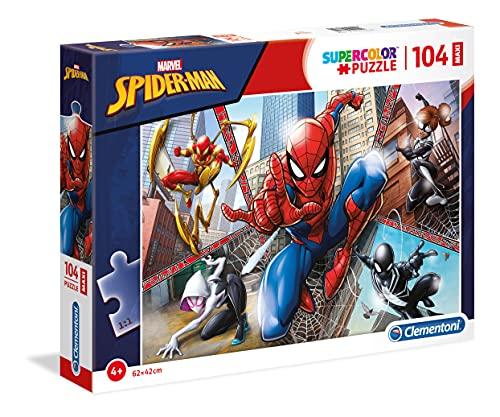 Clementoni Spider-Man Supercolor Puzzle Man-104 pezzi Maxi, Multicolore, 23734