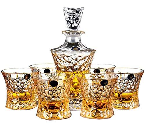 YYCDD Kristallen glazen beker, Whiskey glas Grote Decanter Wijnkelder, Elegant Ontwerp, Mooie geschenkdoos (set van 7)