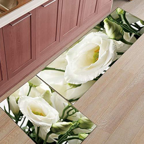 HLXX Alfombra de Puerta de Entrada con Estampado Floral de Flor de Rosa roja Alfombra de baño Cocina Alfombra de Sala de Estar Alfombrillas Antideslizantes A5 50x80cm + 50x160cm