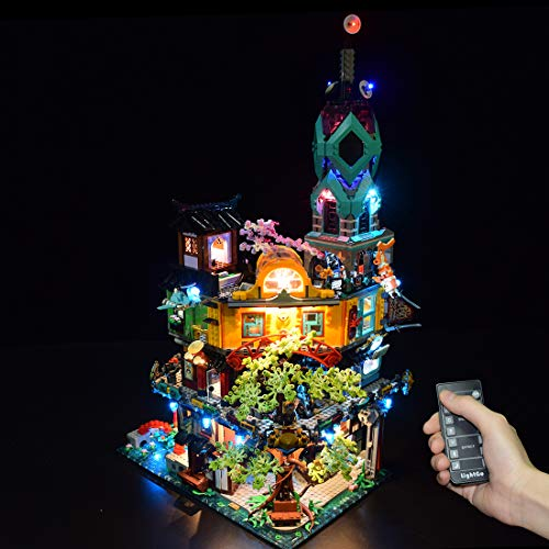 xSuper Kit de iluminación LED DIY para Jardines Ninjago City Compatible con Lego (LED incluido solamente, no Lego Kit) - Versión de control remoto actualizada