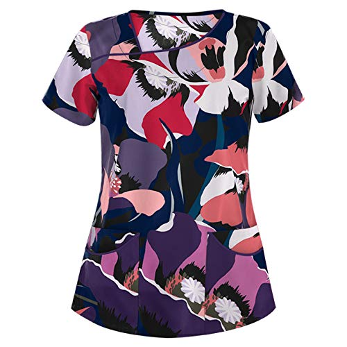 Damenmode Pflege Kasacks Kurzarm Bedrucktes V-Neck T-Shirt Oberteil Frauen Arbeitskleidung Pflege Uniformen Schlupfkasack Sommer Freizeit Bluse Shirt Tee Tops (G-Schwarz, XL)