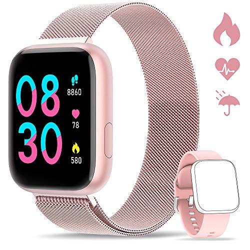 WWDOLL Smartwatch, Orologio Fitness Tracker Impermeabile da 1,4 pollici Cardiofrequenzimetro da Polso Pressione Sanguigna Contapassi Smartband Donna Uomo Smart Watch Android iOS Rosa