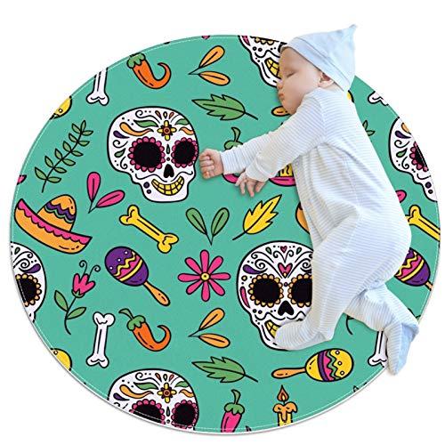 Alfombra redonda con diseño de calavera mexicana con elementos verdes para niños, juego de bebé, alfombra suave para dormitorio, decoración del hogar (70 x 70 cm)