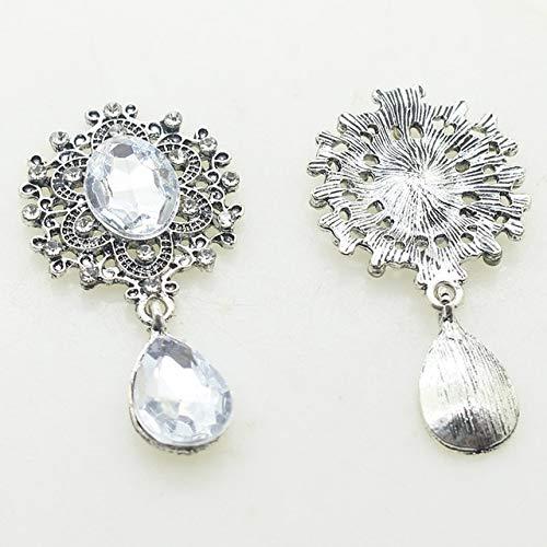 HUAHU 5 Piezas dealeación de Diamantes de imitación Broche de Espalda Plana 45 * 25 MM DIY Banda Accesorios de Vestuario Boda Fiesta de Vacaciones