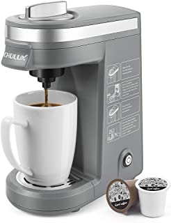 CHULUX Single Serve Coffee Brewer for Pod Capsule with 12 Ounce Built-in Water Tank,800 Watts,Gray
