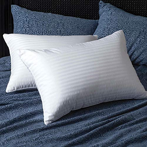 GB TEXTILE Paquete de 4 almohadas de lujo de rayas egipcias rellenas de fibra hueca