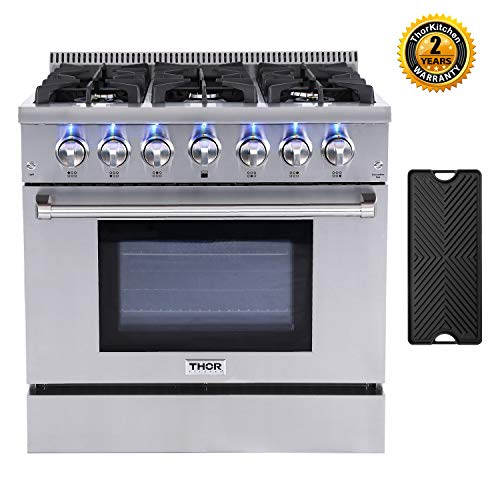 Thor Kitchen HRG3618U 36'' Gas Pro-Style Range HRG3618U with 5.2 cu.ft Convection Oven in Stainless...