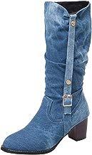 Elegante Botas sobre Caballero sobre la Rodilla Mujer Plataforma Vaquero Punta Redonda Zapatos con Cordones