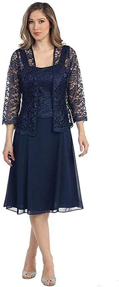 Womens Navy Blue 3 Pieces Chiffon Mother of The Bride Dress with Jacket Pant Suits US26W