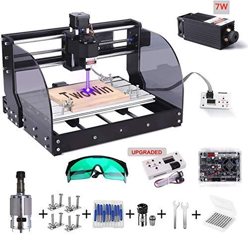 【 2 en 1】3018 Pro-M CNC Fresadora con Módulo De 7 w, TwoWin 3 ejes DIY Maquina De Grabado Mini con GRBL Control Board, El Controlador Fuera De Línea, ER11, para Madera, PCB, Cuero