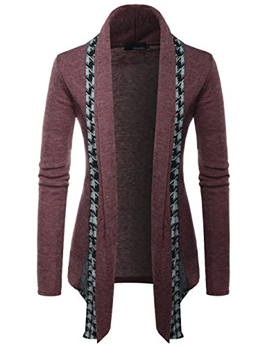 (GD92) Slim Fit Hound Tooth Check Open Front Shawl Collar Stylish Wool Cardigan Wine US S(Tag Size L)