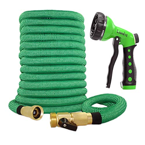 "150 ft Expandable Garden Hose, 8 Function Premium Metal Sprinkler, Heavy Duty Flexible Expanding Water Hose, Garden Water Hose with 3/4"" Solid Brass Connectors, Best Choice for Watering and Washing"