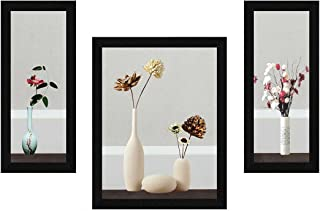 ArtX Paper Flower Vase Wall Art, Multicolor, Floral, 13.5X22.5 in, Set of 3