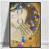 El beso de Gustav Klimt, impresiones en lienzo, reproducciones, impresiones artísticas, cuadros de pared para decoración del hogar, 24x32 pulgadas sin marco