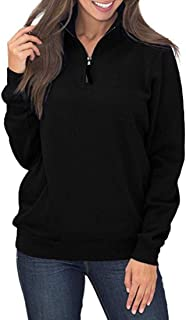 Chunmei Sweater Women Elegant Solid Color Long Sleeve High Neck Half Zip Pocket Loose Sweatshirt Warm Comfortable Simple A...