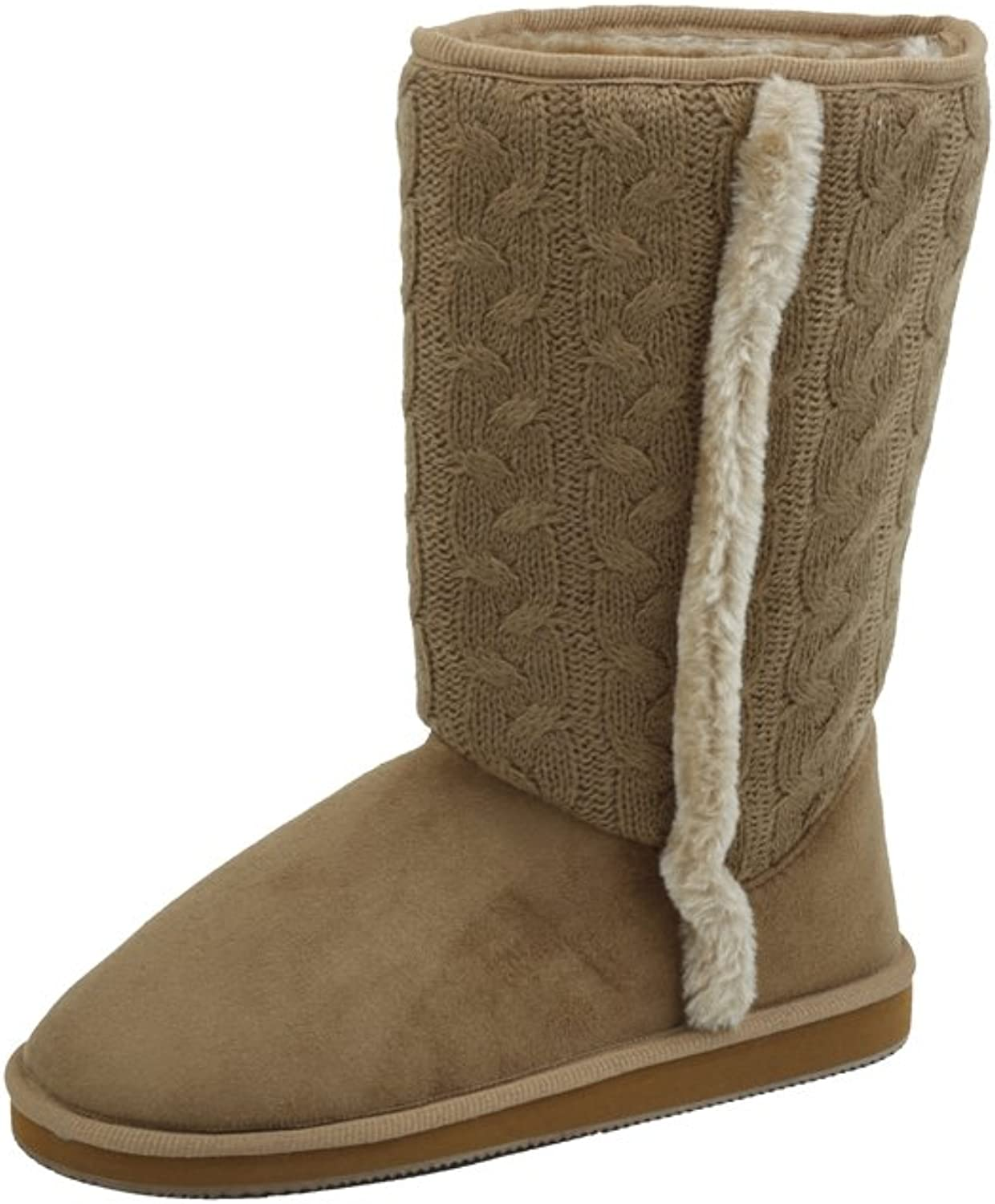 Sunville New Women's Knitted Sweater Design Faux Suede Boots