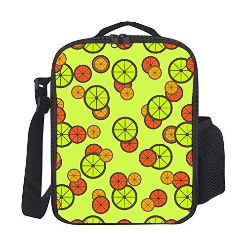 Lunchpaket Kinder-Lunch-Rucksack Citrus-Schnittmuster Lunch-Bag Lunchbox Kühler Mahlzeit Prep Lunch-Tasche mit Schultergurt